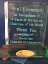 Award presented to Paul Eisenstadt for four years of service as Chairman of the Board of Directors of the Northridge Chamber of Commerc